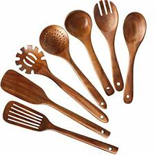 NAYAHOSE Store Wooden Kitchen Utensils set cooking Natural Teak Spatula 7 Pack