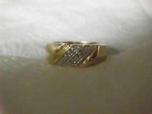 Mens 10k Solid Yellow Gold Natural Diamond Ring Size 10.5