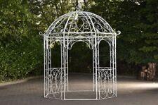 Pavillon aus Eisen weiß Rankhilfe stabil Pergola Rosenbogen Rankgitter design