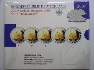 BRD 5 x 2 Euro A-D-F-G-J PP im Originalfolder (Wählen Sie zwischen 2006 - 2020)