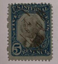 Travelstamps: 1871 5c U.S. Stamps Sc# R107 Washington Blue & Black, 5 cents Used