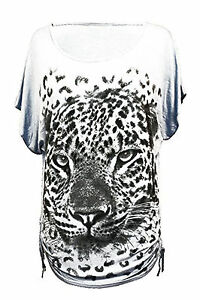 Ladies Womens Butterfly Tiger Loose Batwing Blouse Sequin Baggy TOP T Tank 12-26