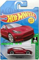 2019 HOT WHEELS TESTLA MODEL 3 HW GREEN SPEED RED
