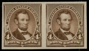 US #222P5, (formerly 222a), 4¢ Lincoln, Imperf Pair on stamp paper og NH PF cert