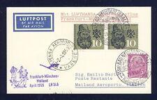50683) LH FF Deutschland - Mailand Italien 1.4.59, Karte ab Bad Neustadt (OWST)