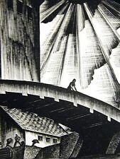 Lynd Ward 1930 SLAVE TRADER TAKING SLAVES off BOAT SLAVERY Art Deco Print Matted