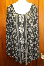 MAURICES Navy Blue Paisley Arabesque Shirt Blouse XXL