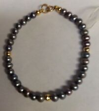 14kt YELLOW GOLD GREY CULTURED PEARL BRACELET NWT