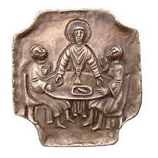Bronze Relief Jesus und die Emmaus Jünger 8 cm * 7,5 cm