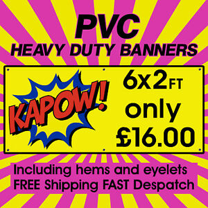 6x2ft PVC Banners Outdoor Vinyl Banner Advertising Sign Display Printed Banner