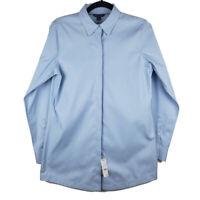 Brooks Brothers Womens Solid Blue Long Sleeve Hidden Button Shirt Size 6