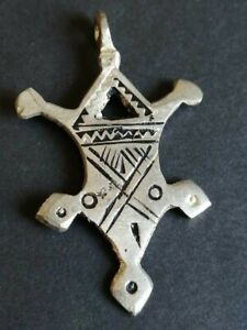 VERY STUNNING ANCIENT OLD AMULET SILVER CROSS ARTIFACT AUTHENTIC