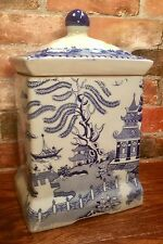 Oriental Blue Willow Ironstone Porcelain Canister