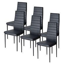 Set of 6 Black Dining Chairs Kitchen Room Furniture Backrest Elegant Design