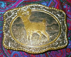Crumrine Mfg White Tail Deer Silver Plated Belt Buckle Used Nice
