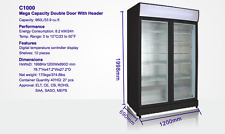 HUSKY  2-DOOR 1000L COMMERCIAL GLASS DISPLAY  FRIDGE BEER WINE CHILLER COOLER