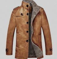 Mens Thicken Fleece Jacket Trench PU Leather Winter Fur Lined Parka Jacket Warm
