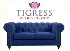 """Royale"" 2 Seater Chesterfield Navy Blue Velvet Lounge Buttoned Back Sofa"