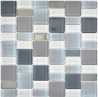 Glasmosaik grau Fliesenspiegel Küche Wandverkleidung Bad WC 68-0216F | 10 Matten