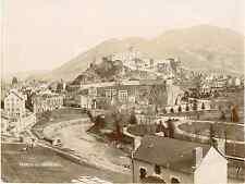 France, Lourdes, Le Château, Vue Panoramique  Vintage print.  Tirage citrate