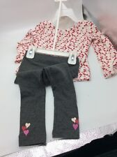 Betsey Johnson Girls two piece heart shirt and leggings size 2t Bx12
