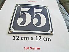 Hausnummer Nr. 55 weisse Zahl auf blauem Hintergrund 12 cm x 12 cm Emaille