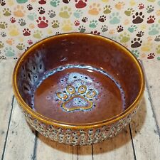 Spot Dog Bowl Paw Prints Ceramic Stoneware Food Water Dish Large 7""
