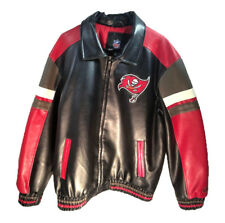 Tampa Bay Buccaneers Mens Sz LG Embroidered Faux Leather Official NFL Jacket