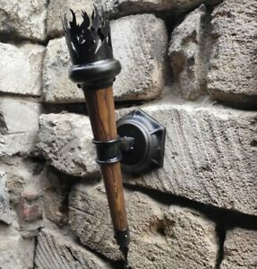 Mid century wall lamp Wooden sconce Iron forged light fixture Farmhouse lighting