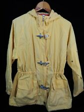 Vintage Izod Yellow Hooded Zip Up Jacket/Raincoat Size M; 100% Cotton; Hong Kong