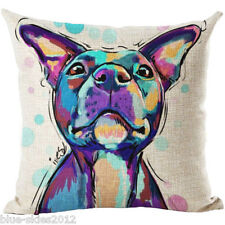 STAFFY/ Staffordshire Bull Terrier DOG LINEN-COTTON Art CUSHION COVER, UK Sale