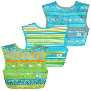 Green Sprouts Snap & Go Easy Wear Baby Bibs (3 Pack) Green Safari Prints