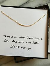 Beautiful Gold Bar Boxed Sister fashion Necklace with Plated Chain, Gift, 16''