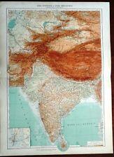 Carta geografica antica INDIA ASIA CENTRALE De Agostini 1927 Antique map