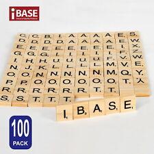 Doyeemei 100 Wooden Alphabet Scrabble Tiles Black Letters and Numbers