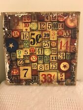 Burlap Wall Panel Plaque District Market ~ Numbers 12""