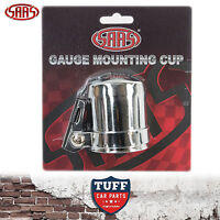 "SAAS Chrome 52mm 2"" Gauge Cup Holder Pod With Adjustable Mounting Bracket"