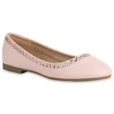 Klassische Damen Ballerinas Glitzer Strass Slipper Slip Ons 820989 Schuhe