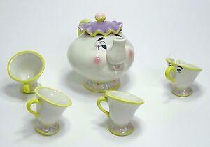 Die Schöne das Biest MadamePottineTassilo Teekanne+4Tassen DisneyStore Porzellan