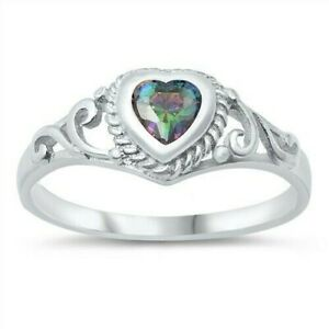 USA Seller Baby Ring Sterling Silver 925 Face Height: 7 mm Rainbow Topaz Size 3
