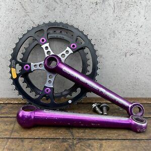 Vintage Cook Bros Cranks CBR Racing Purple Dog Bone Crank Set MTB Old BMX 180