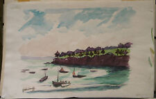"Tableau Peinture Aquarelle PIERRE ABADIE LANDEL ""Marine Bateaux""  PAL45"