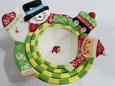 Ceramic Measuring Cups Nesting Holiday Christmas Gift Set of 4 Winter Friends