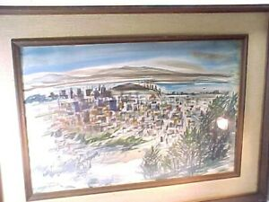 Fabulous 1968 Downtown San Francisco Watercolor Painting By Modesta Richerson
