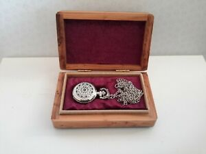 SILVER PENDENT WATCH E25k SPIDER WEB DESIGN IN PIPPY YEW BOX WITH CHAIN/KEY RING