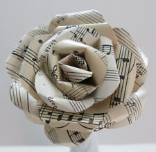 Vintage Sheet Music Paper Rose, Black & White Single 4 Inch Flower, Wedding