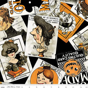 Riley Blake/J.Wecker Frisch Hallloween Old Made Scattered Cards Black Fabric BTY