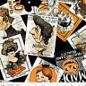 Riley Blake/J.Wecker Frisch Hallloween Old Made Scattered Cards Black Fabric BTY