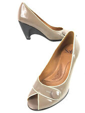 SOFFT Dark Taupe/Black Womens Slip-On Button Accent Heels Pumps Shoes Size 9m