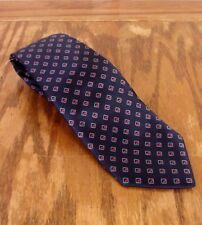 Vintage Conte Di Roma Bleu Marine Géométrique 100% Cravate en Soie Semi Fin